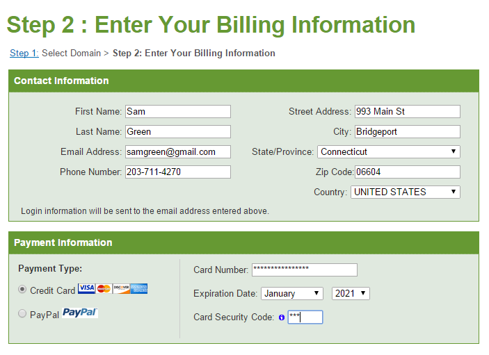 iPage Billing Information